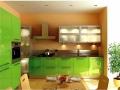 угловая кухня зеляного цвета мдф