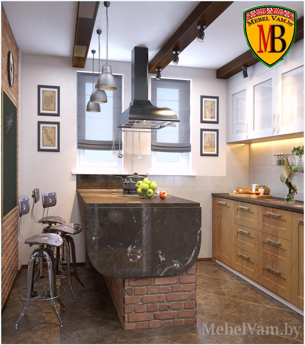 Кухня лофт с островом барной стойкой